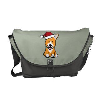 Corgi dog puppy Pembroke Welsh Christmas Santa hat Messenger Bag