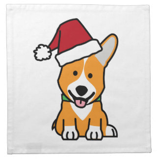 Corgi dog puppy Pembroke Welsh Christmas Santa hat Napkin