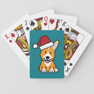 Corgi dog puppy Pembroke Welsh Christmas Santa hat Playing Cards