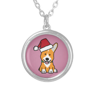 Corgi dog puppy Pembroke Welsh Christmas Santa hat Silver Plated Necklace