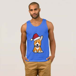 Corgi dog puppy Pembroke Welsh Christmas Santa hat Singlet