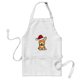 Corgi dog puppy Pembroke Welsh Christmas Santa hat Standard Apron