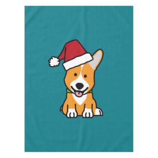 Corgi dog puppy Pembroke Welsh Christmas Santa hat Tablecloth