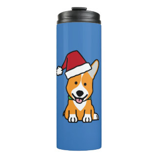Corgi dog puppy Pembroke Welsh Christmas Santa hat Thermal Tumbler
