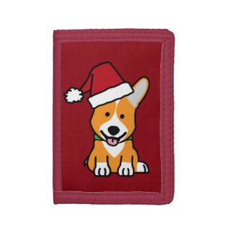 Corgi dog puppy Pembroke Welsh Christmas Santa hat Trifold Wallets