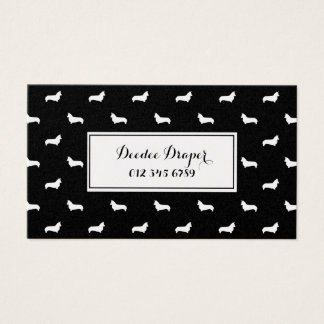 Corgi Dog Silhouette  Black and Gold business card