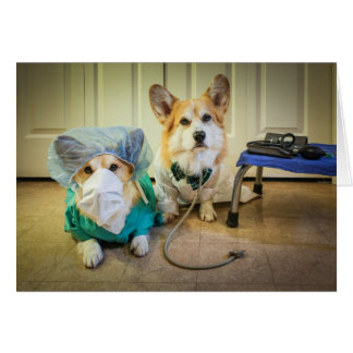 Corgi Dr and nurse Speedy Recovery Card
