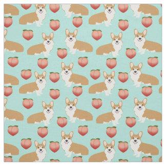 Corgi Emoji Fabric - cute peach corgis butts