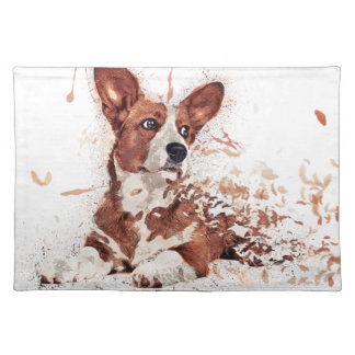 Corgi feather placemat