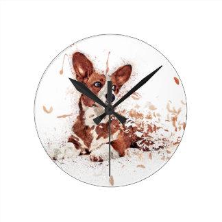 Corgi feather round clock