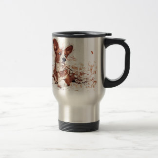 Corgi feather travel mug
