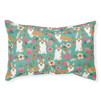 Corgi floral dog bed - turquoise