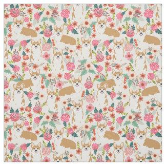 Corgi floral fabric  - cream