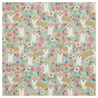 Corgi floral fabric  - mint