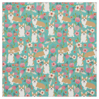 Corgi floral fabric  - turquoise