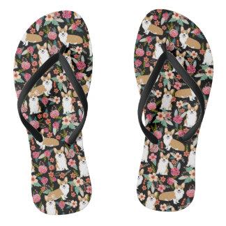 Corgi Floral Flip Flops - black