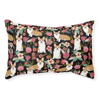 Corgi Floral Pet Bed - black