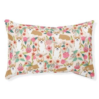 Corgi Floral Pet Bed - cream