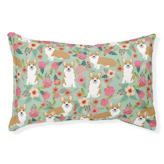 Corgi Floral Pet Bed - mint