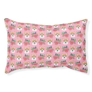 Corgi Florals -pink Pet Bed