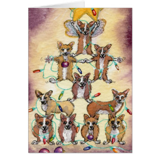 Corgi Fur tree Card
