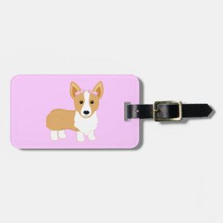 Corgi Girl Dog with Pink Bows Luggage Tag