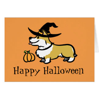 Corgi Halloween- Witch Card