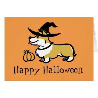 Corgi Halloween- Witch Greeting Card