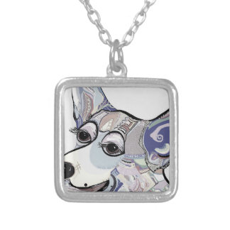 Corgi in Denim Colors Silver Plated Necklace