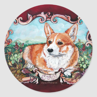 Corgi in the Garden! Classic Round Sticker