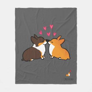 Corgi Kissing Fleece Blanket