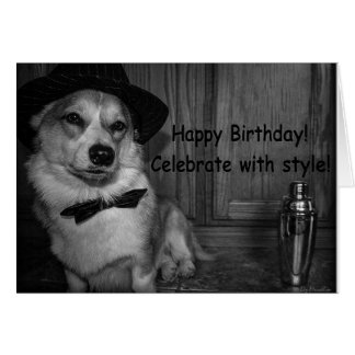 Corgi martini shaker birthday card