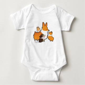 Corgi Mom and Puppies Baby Shirt