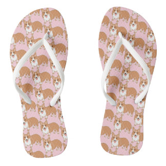 Corgi Pattern Light Pink Flip Flops