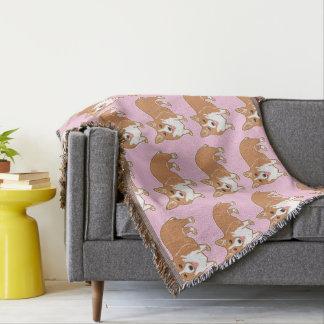 Corgi Pattern Light Pink Pattern Throw Blanket