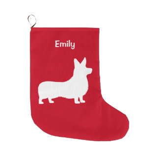 Corgi Pembroke in Silhouette Large Christmas Stocking