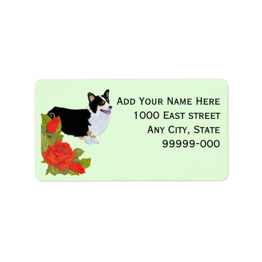 Corgi [Pembroke Welsh] on Red Roses Address Label