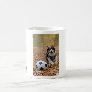 Corgi Playing Soccer Coffee Mug