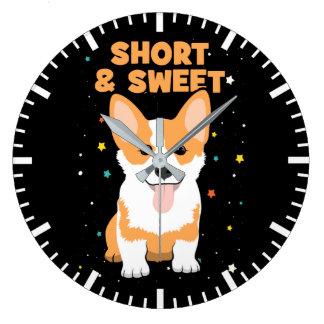 Corgi - Short and Sweet, Cute Dog Cartoon, Novelty Large Clock