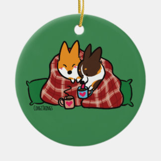 Corgi Snuggles Ornament