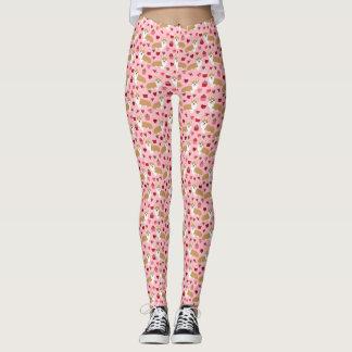 Corgi Valentines Leggings - pink