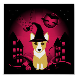 Corgi Witch Poster