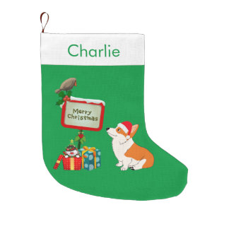 Corgi with Santa Hat Large Christmas Stocking