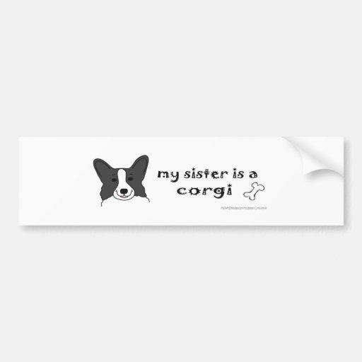 CorgiBLKSister Bumper Sticker