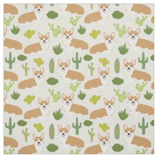 Corgis and Cactus Fabric - cute sewing fabric