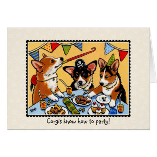 Corgis Party Dog Birthday Greetings Card