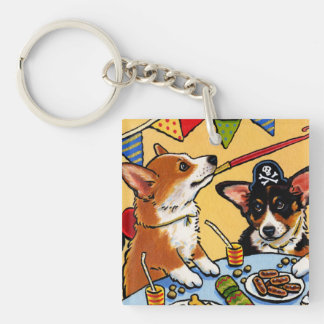 Corgis Party DOG Square Keychain