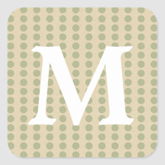 Coriander Spice Moods Dots with Monogram Initial Sticker