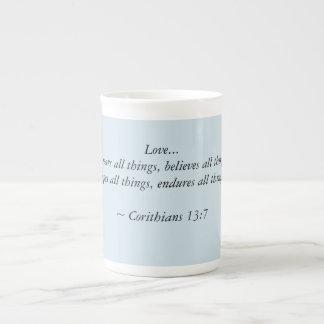 Corinthians 13:7 tea cup