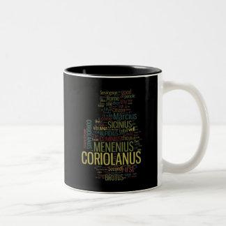 Coriolanus Word Mosaic Two-Tone Coffee Mug